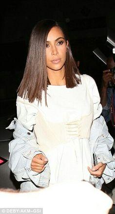Kim Kardashian West's long, sleek, angular bob hairstyle