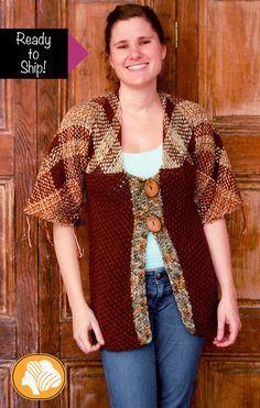 Loom weaved rustic brown cardigan ready to ship by Ullvuna on Etsy Loom Weaving, Hand Weaving, Tapestry Loom, Brown Cardigan, Weaving Patterns, Loom Knitting, Lana, Creations, Wool
