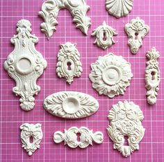 pinning just to have an idea what some of these actually look like. Decor Crafts, Diy And Crafts, Arts And Crafts, How To Make Plaster, Iron Orchid Designs, Plaster Molds, Shabby Chic Crafts, Paper Clay, Furniture Upholstery