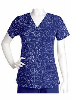 Greys Anatomy Athena print mock-wrap scrub top.