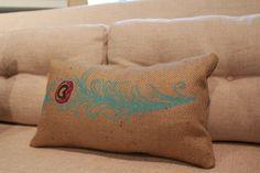 Burlap Pillow Peacock feather Pillow  Lumbar by TwoPeachesDesign, $34.00 #peacock #feather #boho