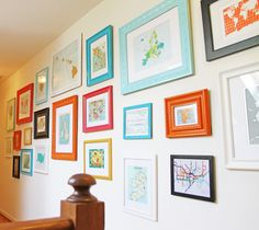 Colorful maps + Frames from Michaels + Krylon spray paint = Gorgeous grouping. Credit: Running from the Law: Home Project - Map Wall Inspiration Wand, Design Inspiration, Design Ideas, Displaying Kids Artwork, Colorful Frames, Framed Maps, Up House, Travel Wall, Diy Wall Decor
