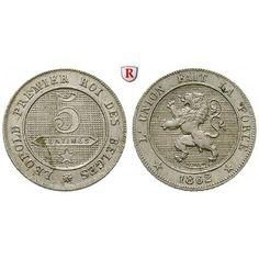 Belgien, Königreich, Leopold I., 5 Centimes 1862, vz: Leopold I. 1831-1865. Kupfer-Nickel-5 Centimes 1862. KM 21; vorzüglich 10,00€ #coins