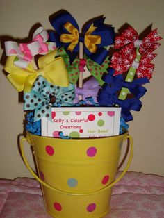 Hair Bow Bouquet...great baby shower gift idea or girl gift... Also can use at a girls party for decor then giveaway a bow per girl afterwards