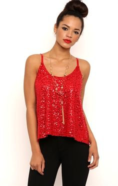 Deb Shops Sequin Trapeze Tank Top with Adjustable Straps $10.75