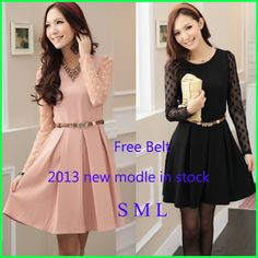 S-L Spring 2014 Fashion Slim Fit Long Sleeve Dot Lace Dress Preppy Style Slimming Patchwork Women's Clothes + Free Belt US $12.96