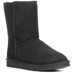 Ugg Australia Women's 'Classic Short' Regular Suede Boots ($170) ❤ liked on Polyvore featuring shoes, boots, ankle booties, black, black suede bootie, suede ankle boots, black bootie, short ankle boots and faux suede booties