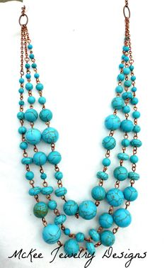 Copper three strand Turquoise howlite stone necklace. McKee Jewelry Designs