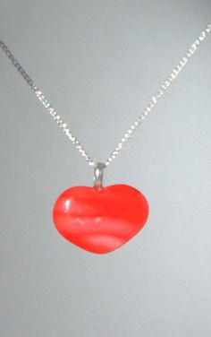 Valentine Red Glass Heart Charm  Necklace Gift by elkescreations, $14.00