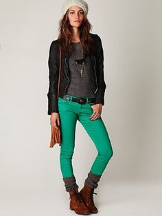 Teal skinny ankle crop pants my-style Colored Skinny Jeans, Colored Pants, Colored Denim, Skinny Pants, Turquoise Pants, Teal Pants, Bright Pants, Green Skinnies, Green Jeans