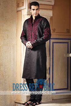 - Linen kurta churidar with maroon resham and moti work Mens Traditional Wear, Kaftan, Mens Shalwar Kameez, Muslim Men, Muslim Dress, Mens Attire, Tomboy Fashion, Kurta Designs, Churidar