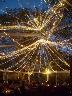 clear wedding tents with string lights