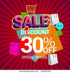 Big sale discount 30% off banner template design with colorful geometric background. Sale banner template design. - stock vector