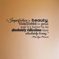 Marilyn Monroe  Imperfection  vinyl wall quote by daydreamerdesign