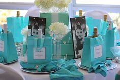 Breakfast at Tiffany's Theme Bridal Shower/Birthday Party/Baby Shower table decor and favors Tiffany Blue Party, Tiffany Theme, Azul Tiffany, Tiffany Wedding, Teal Party, Tiffany Box, My Bridal Shower, Baby Shower, Bridal Showers