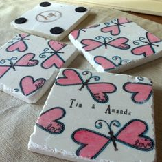 Butterfly Wedding Favor Coasters