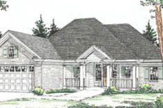 Traditional Style House Plan - 2 Beds 2 Baths 1394 Sq/Ft Plan #20-376 Exterior - Front Elevation - Houseplans.com