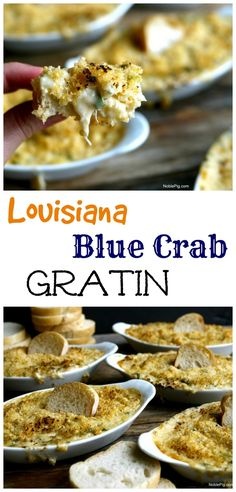 louisiana food This fantastic gratin highlights every thing delicious about Blue Crab from Louisiana, from . Creole Recipes, Cajun Recipes, Seafood Recipes, Haitian Recipes, Cajun Food, Donut Recipes, Easy Recipes, Cooking Recipes, Louisiana Seafood