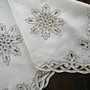 Handsome Linen Tea Tablecloth Ecru Cutwork Embroidery Vintage