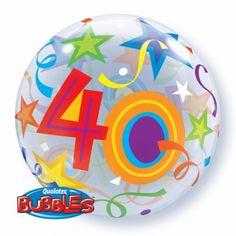 Leuke folieballon 40 jaar. Vrolijk gekleurde ronde stretch folie ballon van Qualatex Bubbles in 40 jaar uitvoering. Deze folie ballon wordt gevuld met helium geleverd en blijft ongeveer 4 weken goed! Grootte: ongeveer 56 cm. Deze folie ballon wordt gevuld met helium geleverd en kan derhalve niet worden geretourneerd.