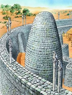 The high stone walls of Great Zimbabwe were decorated with posts carved with 'Zimbabwe Birds' .