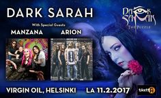 Dark Sarah, Arion, Manzana - Virgin Oil Co., Helsinki - 11.2.2017 - Tiketti