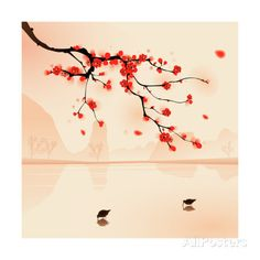 Oriental Style Painting, Plum Blossom In Spring Impressão artística