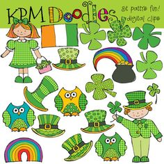 COMBO PACK St Patricks Day fun Digital Clip art and by kpmdoodles, $5.75