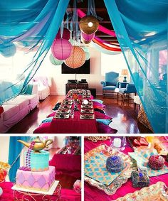 Make over your whole party area to look like the inside of Shimmer and Shine's genie bottle. Transport party guests to Zharamay Falls with colored lanterns, draped fabric, and pink, purple, and jewel-toned everything! Jasmin Party, Princess Jasmine Party, Disney Princess Party, Princess Birthday, Aladdin Birthday Party, Aladdin Party, 4th Birthday Parties, 5th Birthday, Birthday Ideas