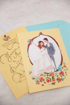 Cute idea: Custom illustrations of the bride and groom on the wedding invitations!