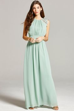 Little Mistress Sage Lace and Pleat Maxi Dress - Little Mistress from Little Mistress UK