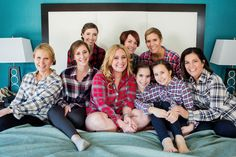 Bridal Party Getting Ready in Flannel Shirts
