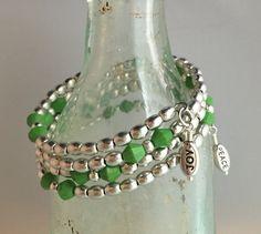 Wrap style, matte Swarovski crystals, inspirational charms