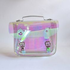 Small Bag number 3 Clear Holographic plastic satchel shoulder strap (Ready to…
