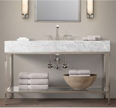 Hudson Double Vanity Sink from Restoration Hardware 36 Bathroom Vanity, Zen Bathroom, Bathroom Wall Decor, Vanity Sink, Bathroom Faucets, Bathroom Furniture, Bathroom Storage, Bathroom Ideas, Glass Bathroom