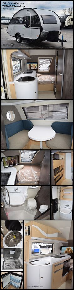 The T@B 400 teadrop camping trailer by nüCamp RV is feature rich and ready to head out as your newest camping companion! It is a larger and more luxurious teardrop camper featuring real wood cabinetry, fiberglass and azdel sidewall construction, a queen size bed, and a monster front picture window to name just a few things. These units are lightweight and easily towable by most vehicles. So, why not take your camping up a level and choose a T@B 400 camper and enjoy the great outdoors!