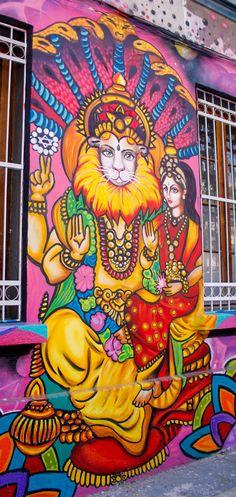 NARASIMHA Street Art / Barrio Yungay / Santiago de Chile Cl, Street Art, Wall Art, Photography, Bicycle Kick, Urban Art, Santiago, Places, Photograph