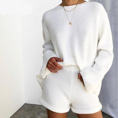 Vintage Striped Two Piece Set Autumn Winter Back Lace Up Pullover Sweaters and Shorts Knitted Set outfit Cute Lounge Outfits, Lazy Outfits, Casual Outfits, Lazy Day Outfits For Summer, Emo Outfits, Outfit Summer, Spring Outfits, Winter Outfits, Loungewear Outfits