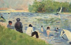 """Georges Seurat (French, 1859 - 1891 ), Bathers (Study for """"Bathers at Asnières""""), 1883/884, oil on panel, Collection of Mr. and Mrs. Paul Mellon 2014.18.54 NGA"""