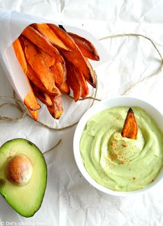 Crispy on the outside and soft on the inside, these sweet potato fries served with an avocado dip make a perfect healthy snack!