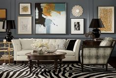 32 Finest Decorating Ideas for Long Walls - Page 8 of 33 Art Deco Living Room, Living Room Shop, Living Room Grey, Home And Living, Living Room Designs, Living Rooms, Cream And Black Living Room, Ralph Lauren Home Living Room, Living Spaces