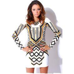 Black white hourglass mesh long sleeved dress