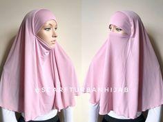 Transformer blush pink hijab niqab, ready to wear traditional hijab, 1 piece hijab, prayer scarf, burqa Turban Hijab, Hijab Niqab, Hijab Dress, Pashmina Hijab Tutorial, Hijab Style Tutorial, Hijab Wedding Dresses, Disney Wedding Dresses, Dress Wedding, Arab Girls Hijab