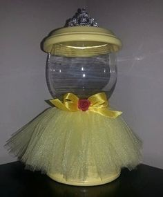 Items similar to Faux Gumball Machine / Candy Dish – Belle inspired / Yellow Princess on Etsy - Modern Clay Pot Projects, Clay Pot Crafts, Diy Clay, Jar Crafts, Crafts For Kids, Tree Crafts, Flower Pot Crafts, Flower Pots, Diy Gumball Machine