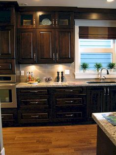New Kitchen Colors Brown Cabinets Hardware Ideas Backsplash With Dark Cabinets, Dark Kitchen Cabinets, Brown Cabinets, Kitchen Redo, Kitchen Backsplash, New Kitchen, Kitchen Remodel, Kitchen Ideas, Backsplash Ideas