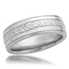 Hand Engraved Wheat Wedding Band with Rails - This wedding ring has a hand engraved wheat pattern around the band. For a matching wedding set, also see the original Hand Engraved Wheat Wedding Band.