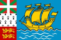Flag of Saint-Pierre and Miquelon featuring an image of the original La Grande Hermine.  The ruins of a replica of this ship are in Jordan Harbour.