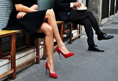 Red pumps add the perfect pop of color. I have loved red shoes since I was in high school and have at least six pairs varying styles! Red High Heels, Red Pumps, Red Stilettos, Black Shoes, Fashion Mode, Fashion Shoes, Girl Fashion, Red Fashion, Fashion Drug