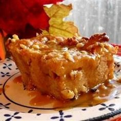 Bread Pudding with Praline Sauce | So much good stuff in one easy dessert.