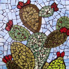 Shop for cactus on Etsy, the place to express your creativity through the buying and selling of handmade and vintage goods. Mosaic Garden Art, Garden Wall Art, Mosaic Wall Art, Tile Art, Mosaic Glass, Mosaic Tiles, Glass Art, Rock Mosaic, Kitchen Mosaic